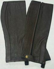 Brown Perforated Leather Chaps top quality Straight Cut Chaps Size Small New 68