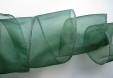 Wired Ribbon Dark Green Sheer Organza ~ Forest Green ~ Classic