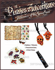 Boys Pirate Play Pack Treasure Map Party Game,Pirate Necklace, Telescope,Tattoos
