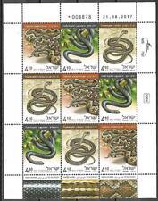Israel Full Sheet MNH Snakes In Israel Year 2017