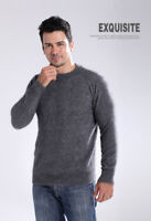 New 100% Mink Cashmere Sweaters Fashion Men's Crewneck Pullovers Knitted Sweater