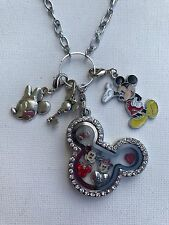 Mickey Mouse Silver Stainless Steel Crystal  Living Glass Memory Locket