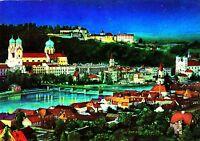 Passau bei Nacht , Ansichtskarte, 1974 gelaufen