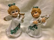 Vintage Homco Pair Of Christmas Angels #5252 Perf Cond 4.5� Tall