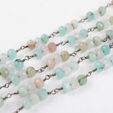 16Ft 6mm Roundel Dyed Lake Blue Jade Rosary Beads Link Chain Wire Wrapped BJT213
