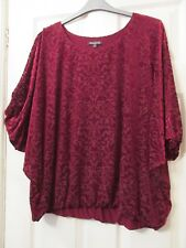 LADIES RUBY RED VELOUR PARTY TUNIC TOP SIZE 20