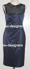 KAREN MILLEN Navy Satin Black Lace Embroidery Pencil Shirt Dress Size UK 10 NEW