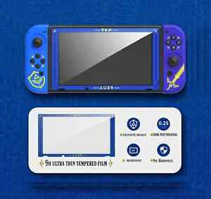 Blue Hylian Shield & Master Sword 9H Protective Glass for Nintendo Switch