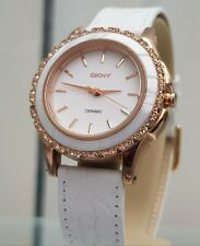 ** DKNY Ladies Watch White Ceramic case Rose gold & white leather RRP£180 (520)