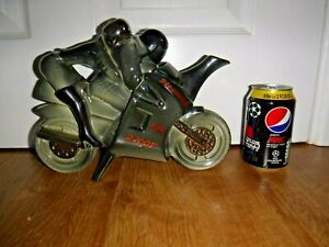 Rare Richard Parrington Novelty Teapot ~ Motorcycle Rider + Pillion ~ Excellent