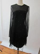 Myrene de premonville Black Dress Empire Sheer Long Sleeves Rhinestones France 3