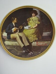 Edwin M. Knowles Norman Rockwell Decorative Plate Pondering On The Porch W COA