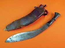Antique India Indian Gurkha Kukri Fighting Knife w/ Scabbard