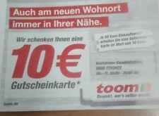 Toom Baumarkt 10 Euro Gutschein Coupon gülig bis 31.03.18