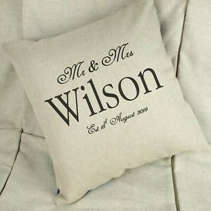 Personalised Wedding Linen White Cushion Cover Home Decor Gift Anniversary