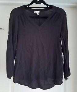 H&M Mama Size S Black Crepe V Neck 3/4 Sleeve Maternity Blouse Top
