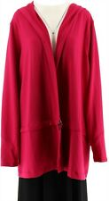 cee bee CHERYL BURKE Open Front French Terry Jacket Hood Fuchsia XL NEW A272211