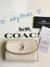 *NWT* Coach Disney Key Case In Glove Calf Leather With Mickey F86908 Chalk