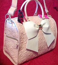 BETSEY JOHNSON WEEKENDER  DUFFLE BAG PINK BLUSH ROSES LUGGAGE BOW PEARLS NEW