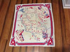 VINTAGE TEA TOWEL MAP SOUTHERN CALIFORNIA LINEN KITCHEN TRAVEL SOUVENIR