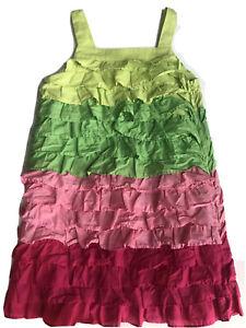 GYMBOREE FLORAL MERMAID DRESS 5 Pink Green RUFFLES Summer VINTAGE SUNDRESS