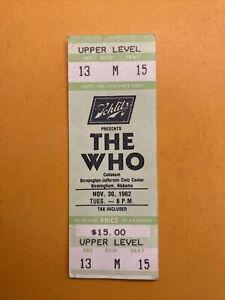 Vintage Concert Ticket Stub - The Who @ Birmingham AL Nov 30, 1982
