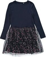 NAME IT langarm Kleid NKFOlala dunkelblau Blümchen Jersey Größe 128 bis 164