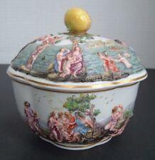 Antique Capodimonte Italian Porcelain Covered Box - Chariot dragons Greek c.1750