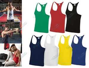 MENS MUSCLE VEST, STRINGER  Y TOP BY AWDis. FOR GYM, TRAINING, BODY BUILDING