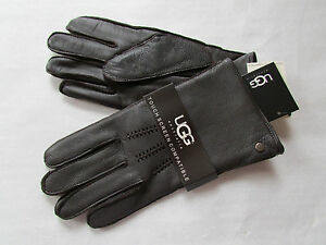 UGG Gloves Tech Smart Leather Lambswool Whip Stitch Brown Large