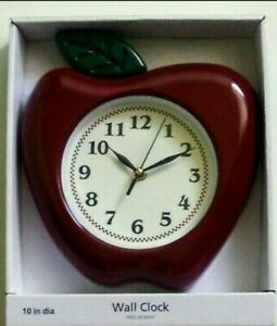 """Apple Shaped Apple Kitchen Wall Clock 10"""" Kitchen Home Decor Red Green White"""