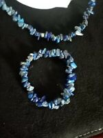 Retro Vintage Lapis Lazuli Chip Necklace and bracelet set