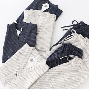 Japanese Men Cotton Kimono Set Pajama Sleepwear Short/Long Sleeve Top+Pant Suits