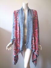Lucky Brand Tribal Native Navajo Open Front Cascade Knit Cardigan Sweater XS/TP