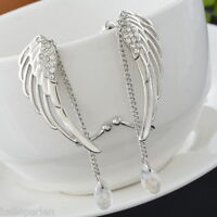 HP 1Pair Fashion Crystal Angel's Wings Ear Cuff Clips Dangle Tessels HOT