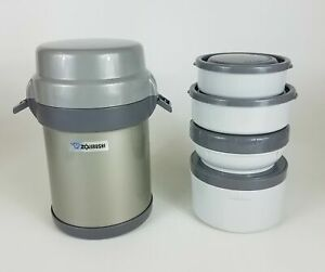 Zojirushi Stainless Thermos Food Jar Lunch Box 4 Containers w/ Carry Case - EUC