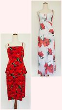 2x Women's Size 14 Red Poppies Patterned Sleeveless Dresses