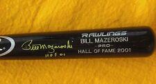 BILL MAZEROSKI SIGNED RAWLINGS ENGRAVED BAT HALL OF FAME 2001 Pittsburgh Pirates