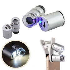 Mini 60X Jewelers Loupe Magnifier with LED & Fluorescence Lights Watch Jellery
