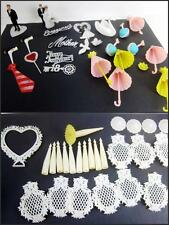 Wilton Vintage Cake Cupcake Topper Decoration 48pc LOT 1970's Wedding,Spikes,Ex
