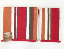 New Tommy Bahama 2 Pc Set Red+Gray+Rust+White Striped Cotton Bath,Hand Towel