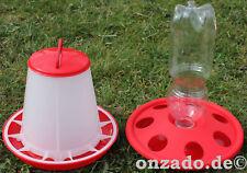 1 kg Futterautomat und 1x Kükentränke Küken Wachteln Hühner Tränke Futterspender