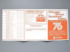 ✇ Original Chrysler Simca Matra Preisliste 10 / 1976 + Farbcodes Ausstattungen