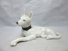 White pearlescent porcelain made in Japan dog figurine. Great Dane?