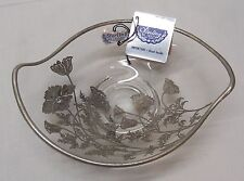 Sterling on Crystal Floral Designs Footed Bowl Candy Dish Silver City Vintage