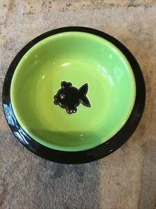 "Fish Swimming Cat Round Bowl Dish Food Water 6.25"" Stoneware Petrageous!"