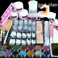 Pro Acrylic Nail Art Tool Kit Set Powder Nail Sticker DIY Set Pump Nail Brush ⭐