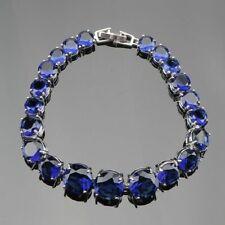 "Blue Sapphire Round Stones Bracelet 925 Sterling Silver Link Chain 7"" Luxury"