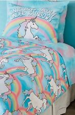 Girls Justice Unicorn Twin Bedding Comforter Sheets Pillowcases Set rainbows NEW