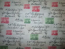 VINTAGE POSTAGE STAMPS SCRIBE GREEN PINK COTTON FABRIC FQ OOP